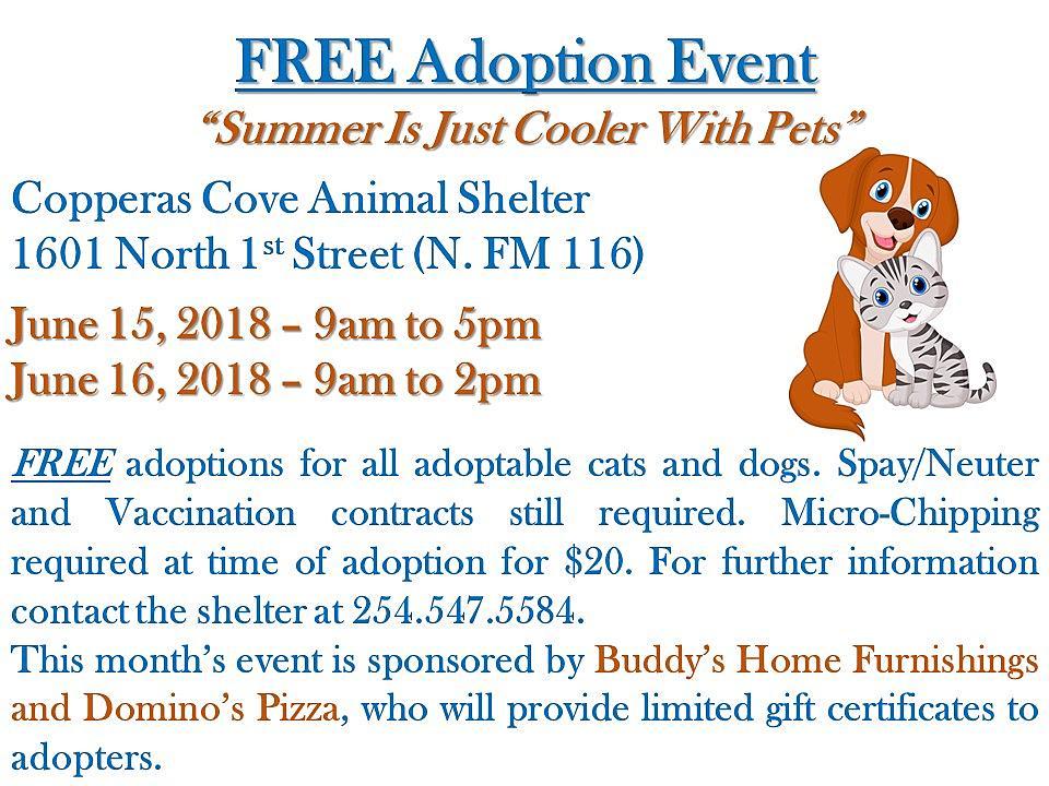 Copperas Cove Animal Shelter June Free Pet Adoption Event